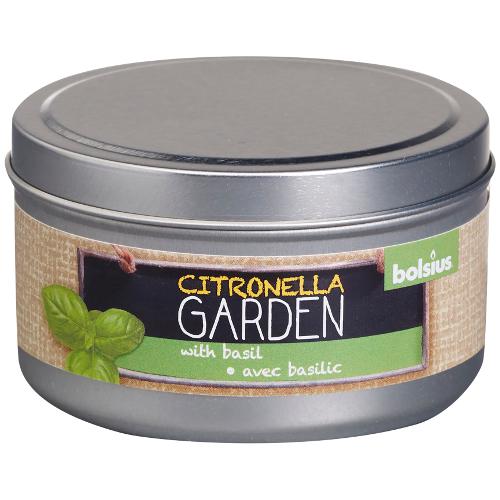 bolsius citronella with basil tin
